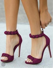 Sexy Burgundy Satin Sandals High Heel Ankle Strap Rivets Shoes Cut-out Gladiator Heels Back Zipper Hollow Dress