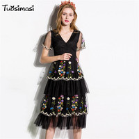 2017 Summer V Neck Vintage S Princess Layered Tiered Party Short Sleeve Embroidery Meash Dress DG051