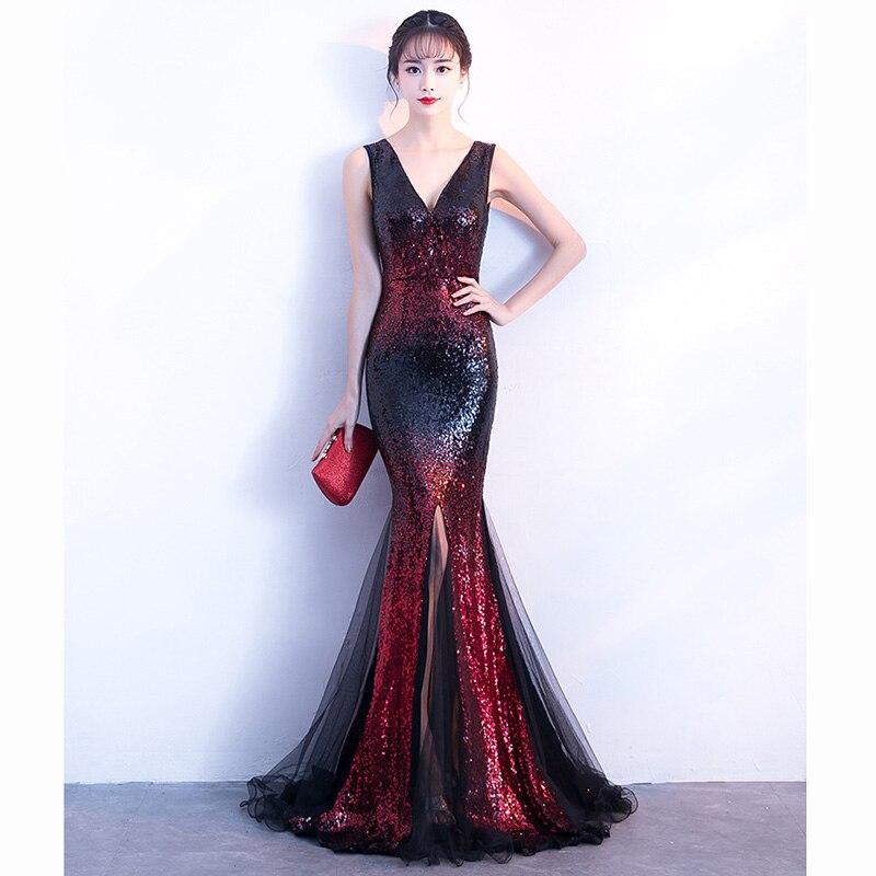 Gradient de luxe Rouge Sequin Avec Noir Maille Manches Longues Sirène Femmes Élégante Robe Parti Robe Club Wear Sexy Formelle Robes