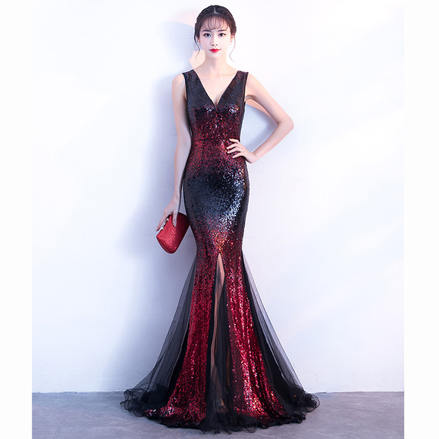 Luxury Red Gradient Sequin With Black Mesh Sleeveless Long Mermaid Women Elegant  Gown Party Dress Club daabf2b9b003