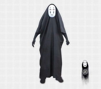 New Anime Spirited Away No Face Man Cosplay Costume Black Cloak+Mask Halloween Costumes for Women/Men S-L 2