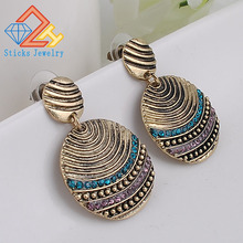 (1 pair / lot) 100% Round Plating Ancient Bronze Earrings