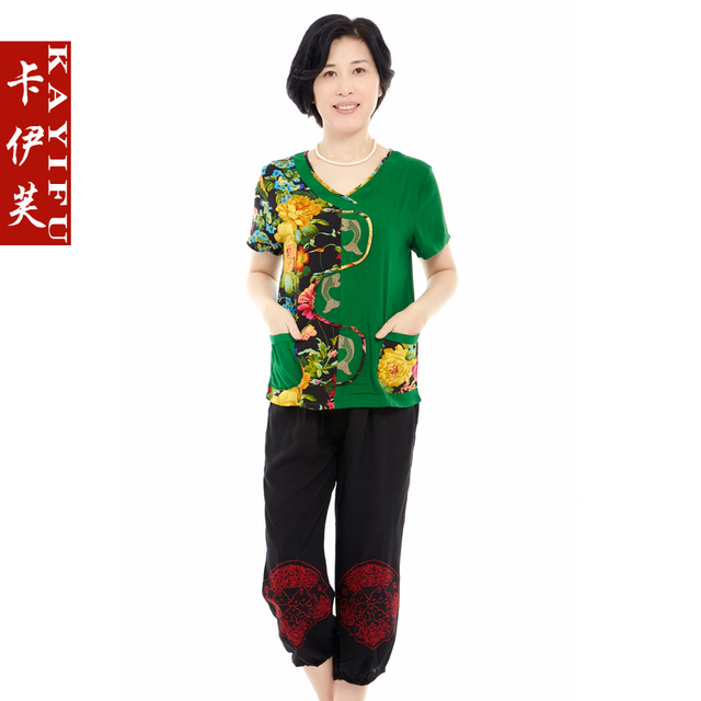 Quinquagenarian women's summer short-sleeve T-shirt quinquagenarian set the elderly mother print clothing tang suit