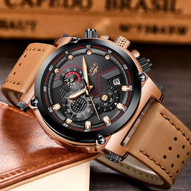 Men Watch Male Leather Automatic date Quartz Watches Mens Luxury Brand Waterproof Sport watch 2