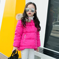 New Kids Winter Fur Hooded Down Jackets For Girls Korean Fashion Solid Coats Baby Girl Warm Parkas Children Outerwear Clothes