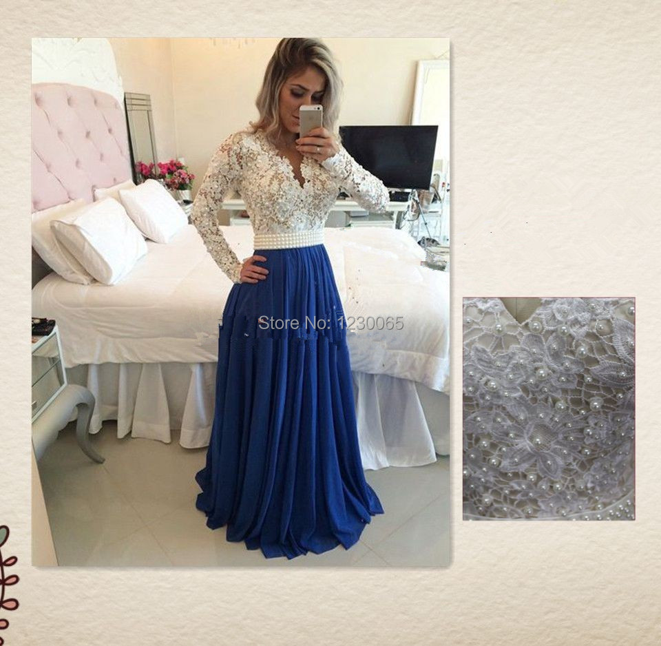 Real Photo Free Shipping Long Sleeve Lace Pearls V-neck Elegant Formal Evening Prom Gown Party 2018 Mother Of The Bride Dresses