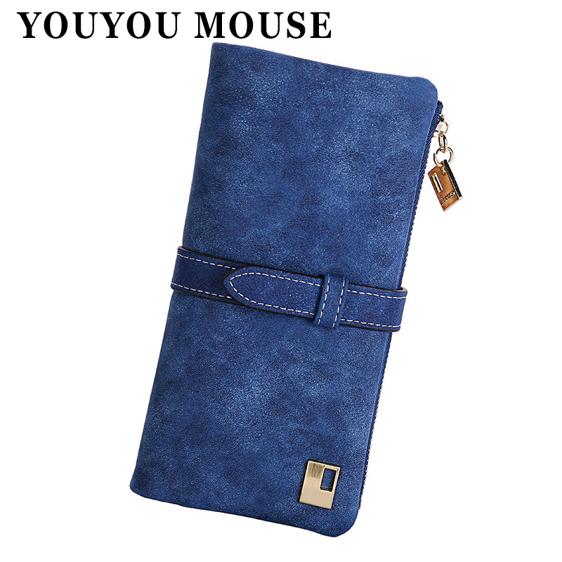 YOUYOU MOUSE Women Wallet Matte Leather 7 Colors Clutch Wallets Ladies Long Clutches Two Fold Coin Purse Card & ID Holder