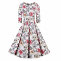 2017 hotselling Party Women Dress Fashion Cotton Blends O-Neck Pleated Print Half Sleeve Knee Length Casual Dress Plus Size