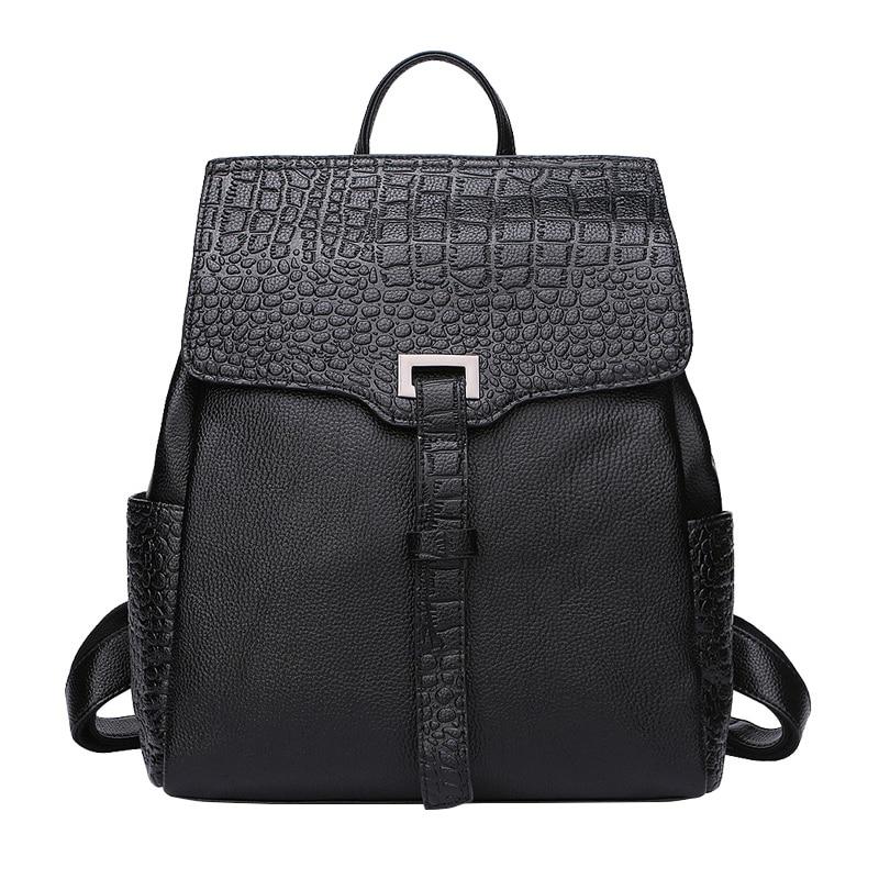 homeda new genuine leather fashion women backpacks street multi pocket bags travel gril bags