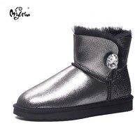 100 Natural Fur Women Boots Winter Warm Shoes Genuine Sheepskin Snow Boots Warm Wool Women Ankle