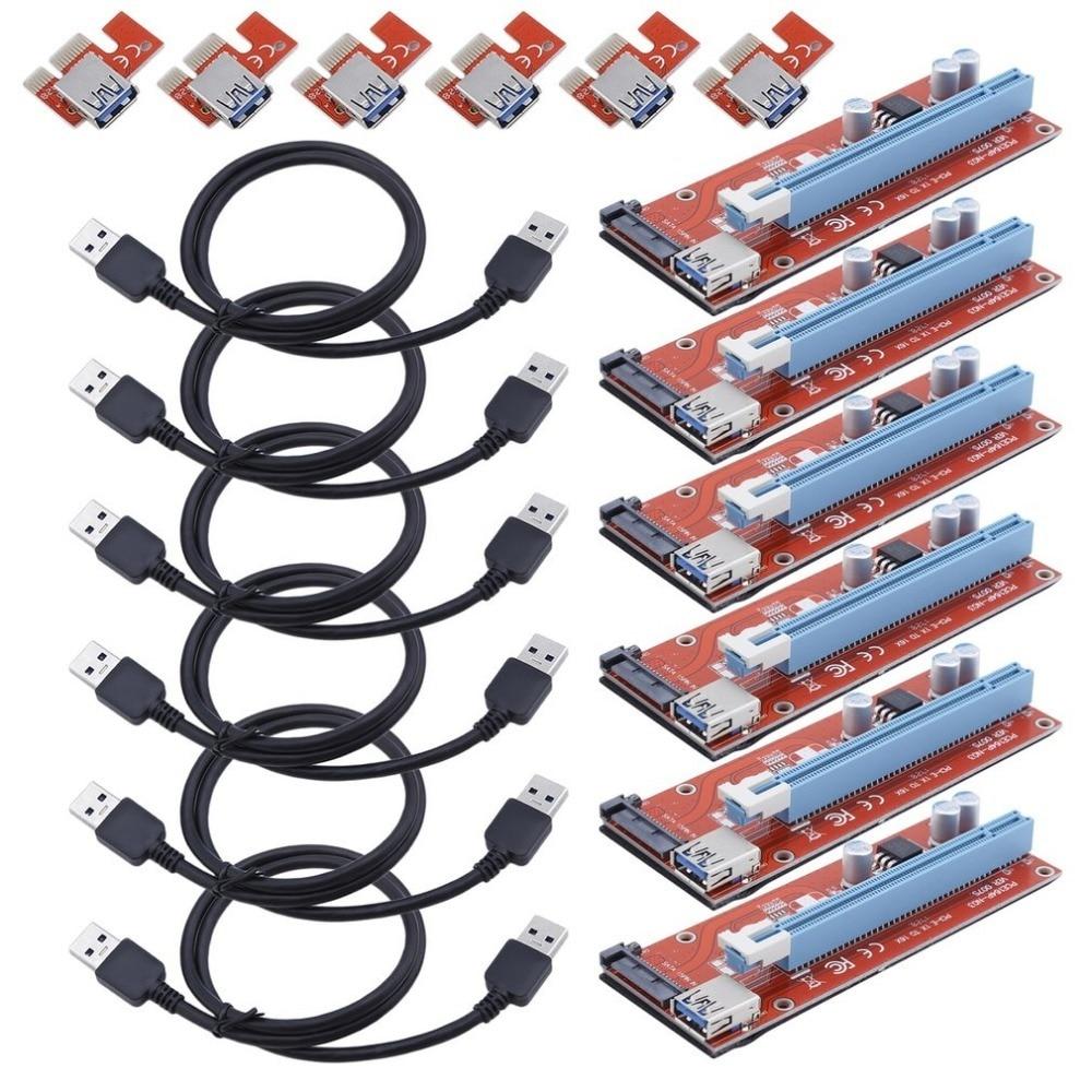 6 ensembles 15 Broches PCI-E Express 1x À 16x Extension Cord Pour BTC Mineur Machine Portable BTC Riser Card PCI express Riser Card