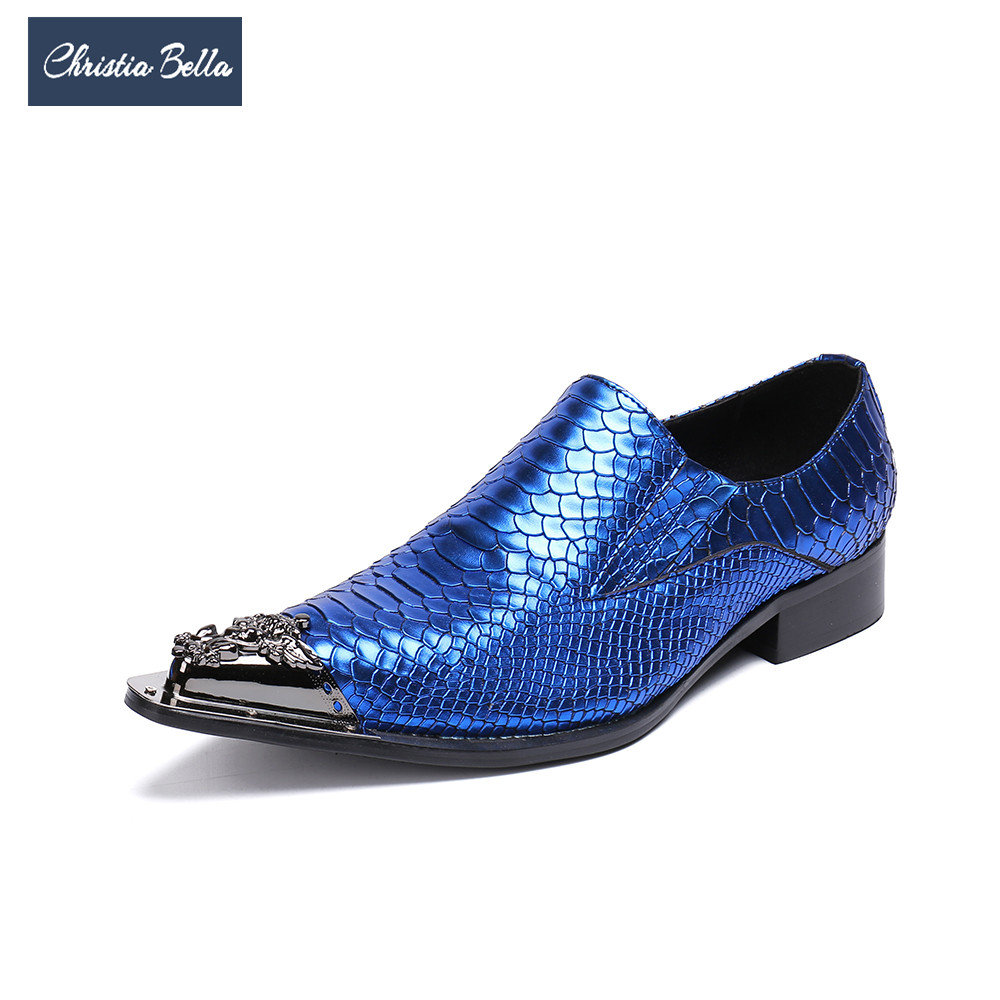 Christia Bella New Fashion Blue Men Genuine Leather Shoes Snake Pattern Wedding Dress Shoes Slip on Party Formal Shoes Big Size christia bella men pointed toe genuine leather slip on british formal dress shoes vogue summer slippers oxfords plus size 38 47