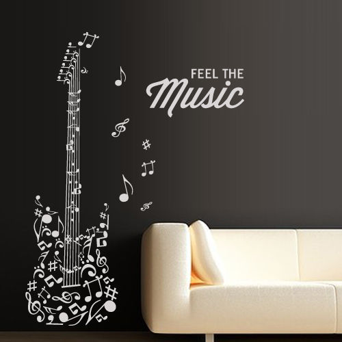 Gratis verzending DIY vinyl Mode Muziek Muurtattoo Gitaar Notities - Huisdecoratie