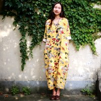 Chinese Style Bird Flower Print Women Dress Vintage Plus Size Loose Summer Long Dress Oversized Design