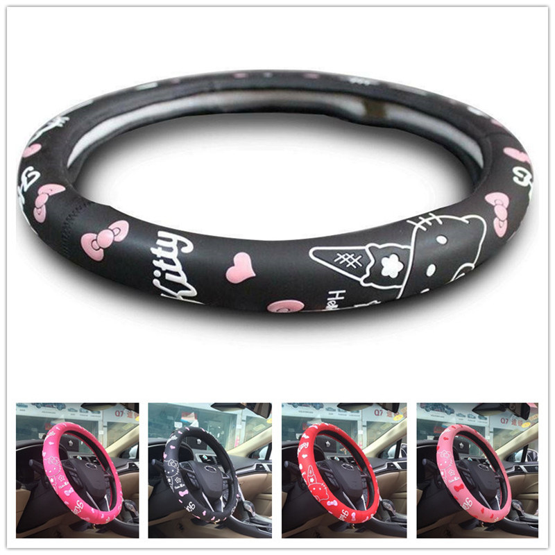 Hello Kitty Car Steering Cover Natural Rubber Healthy Breathable 38cm Steering Wheel Cartoon Hello Kitty Car Accessories|Steering Covers| |  - title=