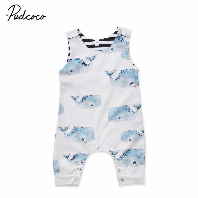 Baby Romper Newborn Boys Girls Whale Romper Sleeveless Summer Jumpsuit White Playsuit Outfits Boy Girl Round Neck Clothing