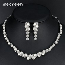 Mecresh Simulated Pearl Bridal Wedding Jewelry Sets Silver Color Flower Necklace Earrings Sets Wedding Engagement Jewelry TL367(China)