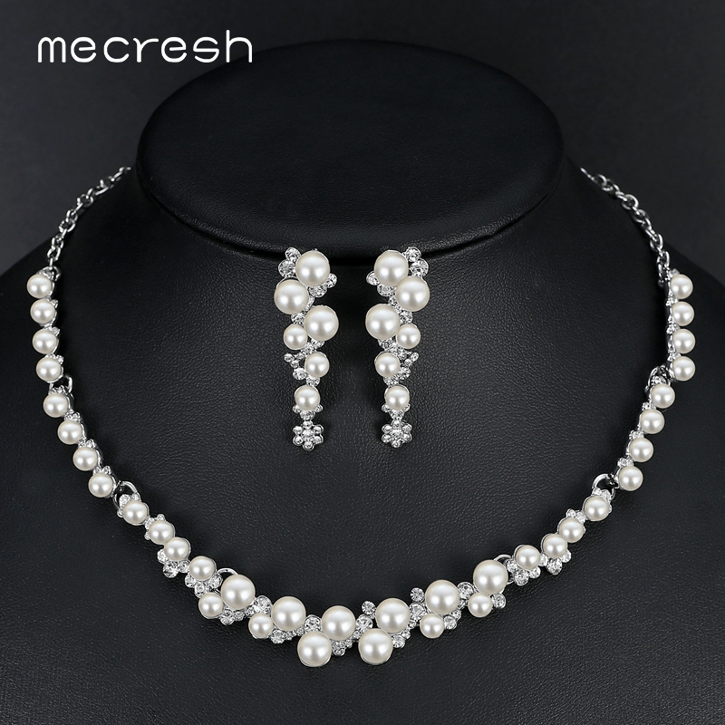 Mecresh Simulated Pearl Wedding Wedding զարդեր