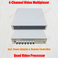 4 Channel BNC Quad Processor 4CH Video Splitter Multiplexor Color Quad Video Signal Multiplexer with Remote Controller PAL NTSC