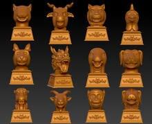 Modelo 3d para cnc 3d esculpida figura escultura máquina em formato de arquivo stl cultura ocidental, o antigo palácio de verão do zodíaco chinês
