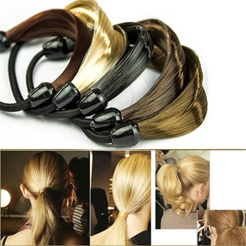 Fashion Women Braid Straight Wig Headband Elastic Hair Band Ponytail Holders Rubber Band ...