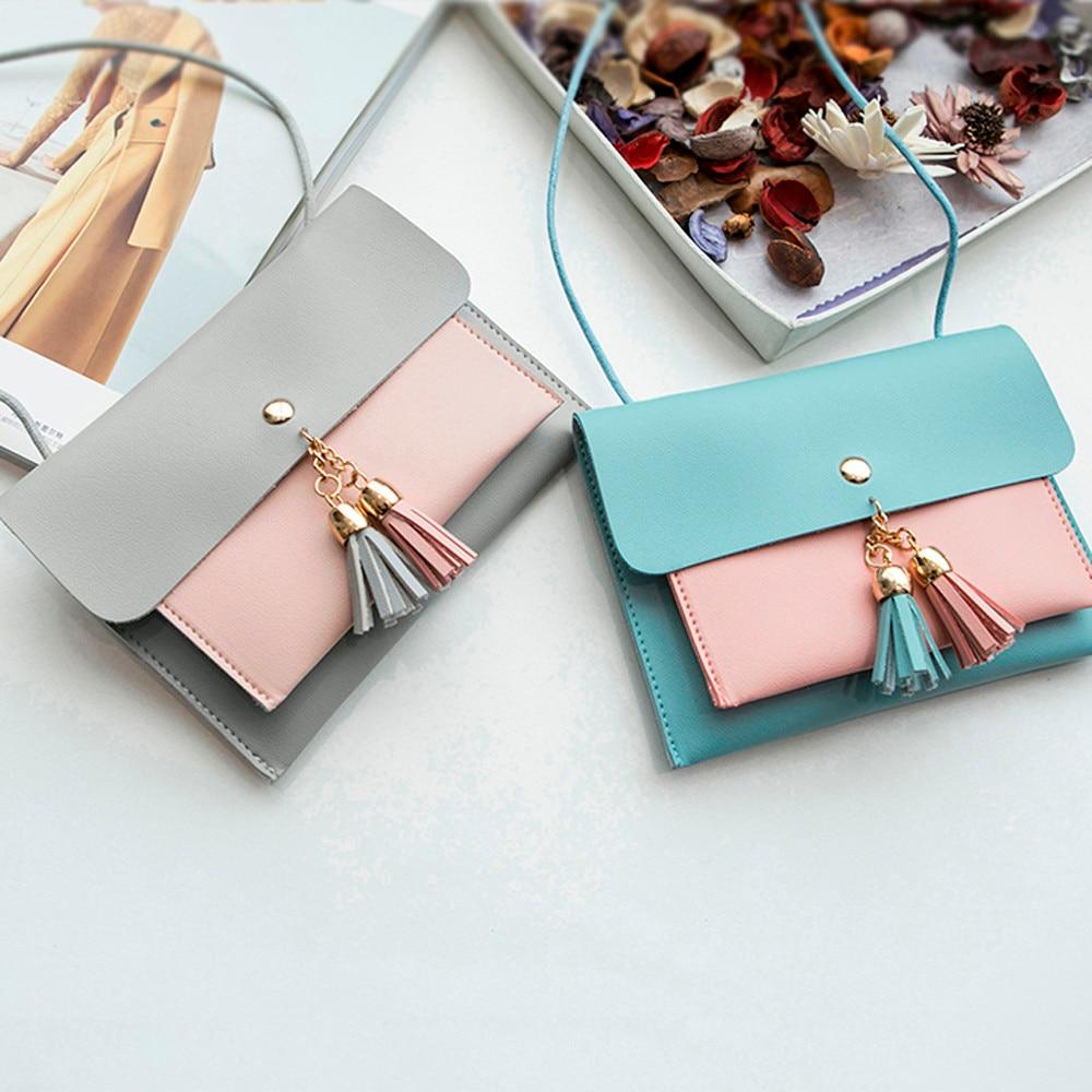 womens handbags and purses cute 2018 designer Fashion Double Deck Cover Tassels Crossbody Shoulder Phone Bag bayan canta iPhone