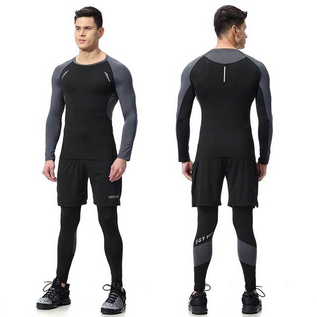 2 Pieces Men GYM Compress Fitness Sets Long Tee Top + Legging + Shorts Workout Exercise Sport Shirts Running Tights A339