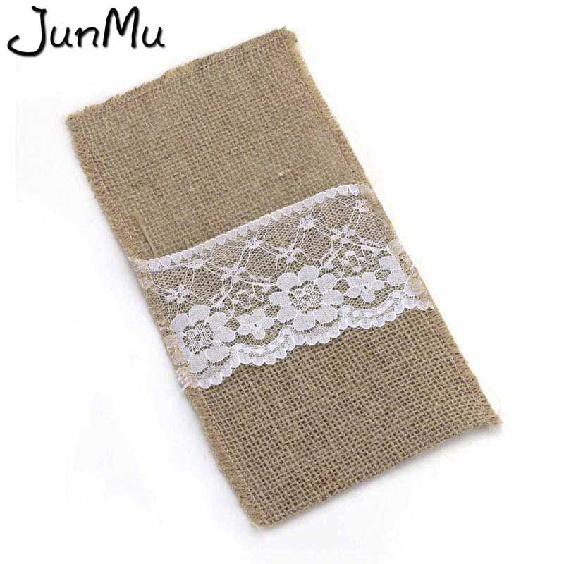 10pcs 11cm X 21cm Lace Pocket Burlap Lace Knife And Fork Bag For Rustic Wedding Decoration