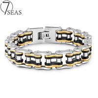 7SEAS Cool Men Biker Bicycle Motorcycle Chain Bracelets Stainless Steel Bracelets Bangles Jewelry Gold Color Mixed