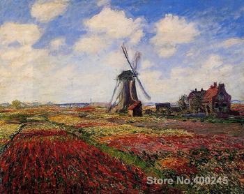Paisaje pintura al óleo Campo de tulipanes en Holanda por la decoración de la habitación de Claude Monet pintado a mano de alta calidad