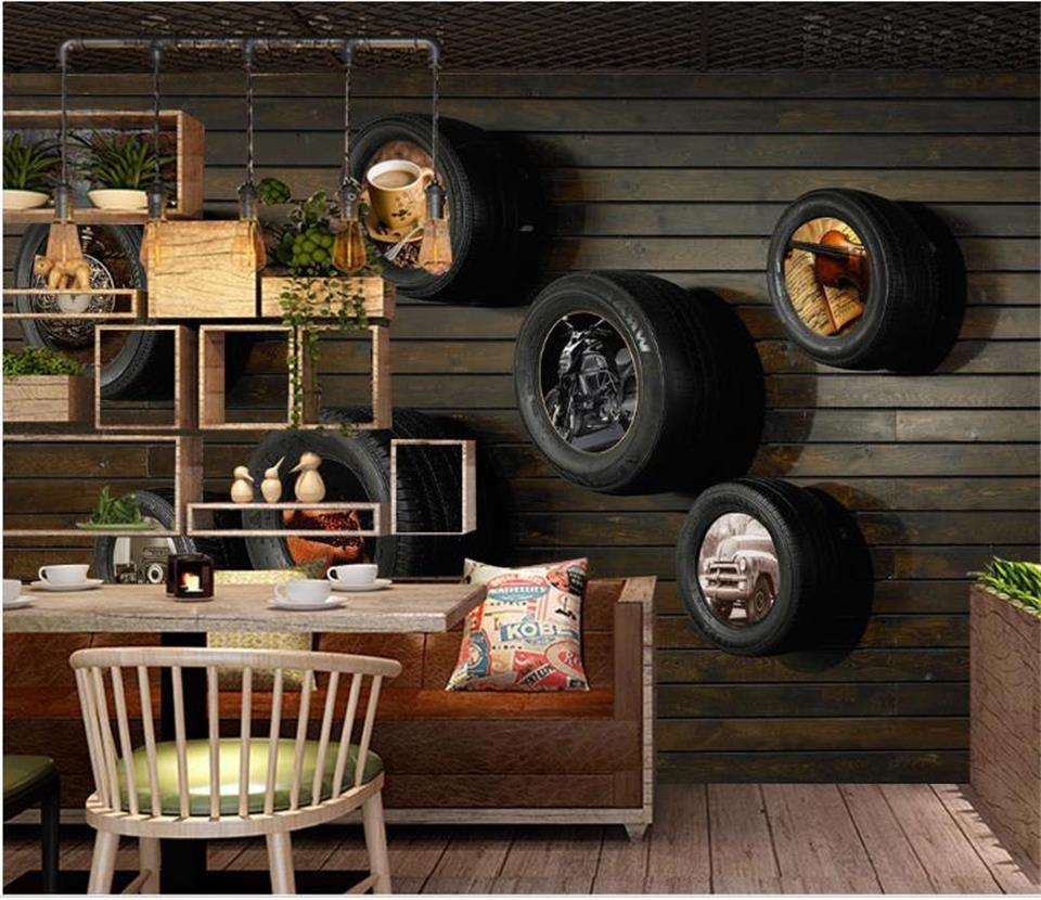 3d wallpaper photo wallpaper custom size mural living room nostalgic car tires 3d painting picture sofa TV background wallpaper custom 3d mural clothing store ktv bar sofa tv background cement brick wall graffiti art retro industrial wind mural wallpaper