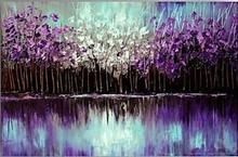 Hand Painted Modern Abstract Knife Palette Plant Oil Painitng on Canvas Handmade the Purple Tree in the River Decorative Home