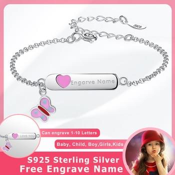 21d93642c2e8 BELAWANG mariposa de plata esterlina 925 pulsera del encanto del corazón pulsera  grabar nombre personalizado pulsera de niñas niños joyería personalizada
