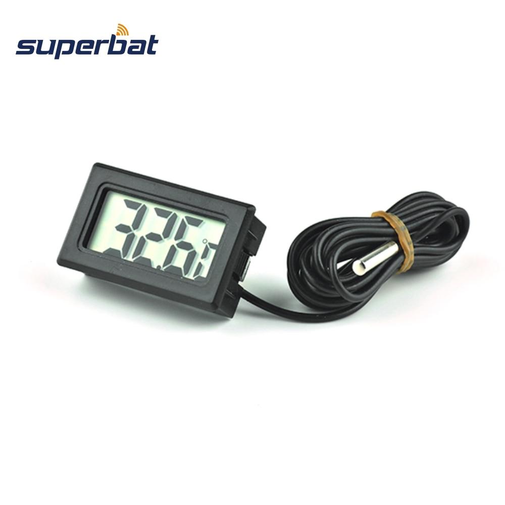 Superbat Indoor Outdoor Black LCD Digital Thermometer Temperature Meter + Probe Sense Cable 1M For Aquarium Freezer Fish Tank