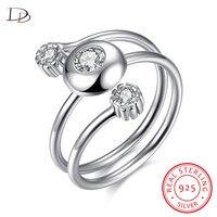 DODO Popular Three Aaa Stone Open Rings For Women 100 925 Sterling Silver Jewelry Vintage Zircon