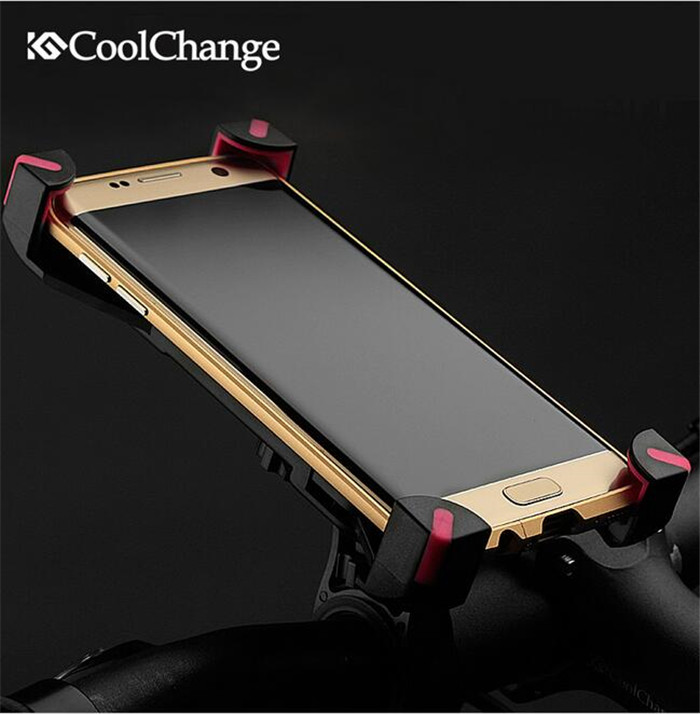CoolChange Bicycle Phone Holder Mobile GPS Stand Bike Bracket Telephone Holder 3.5-7 inches LED lights Bracket Strong stand