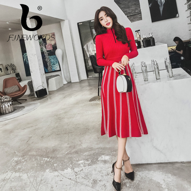 d0b1f4a8602b1 FINEWORDS Autumn Knit Long Winter Dresses Women Luxury Slim Turtleneck  Knitted Sweater Dress Office Lady Korean