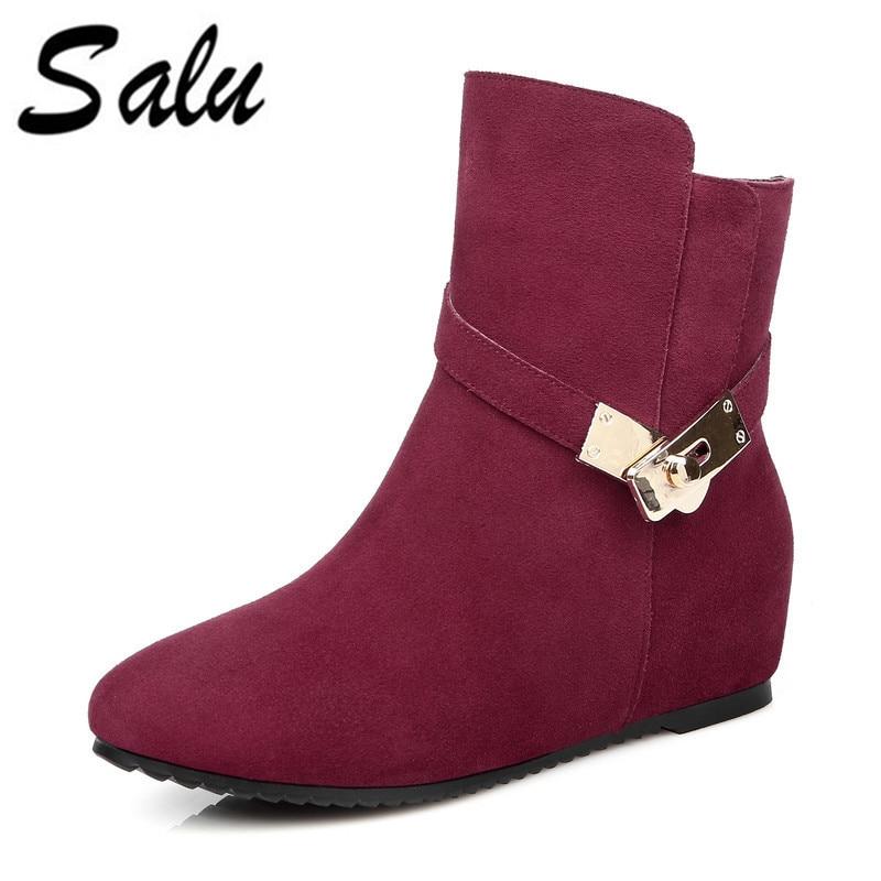 Para rojo Negro Moda Tacón Lana Cuero Salu Cuñas De Invierno Piel Bordes Negro Zapatos Sólidos 5OZW6Uq6v