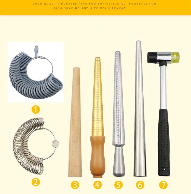 Metal Ring Sizer Set Measuring Rings Mandrel  Finger Sizing Bracelet Measuring Mandrel Plastic Stick Sizer Jewelry Hammer Repair