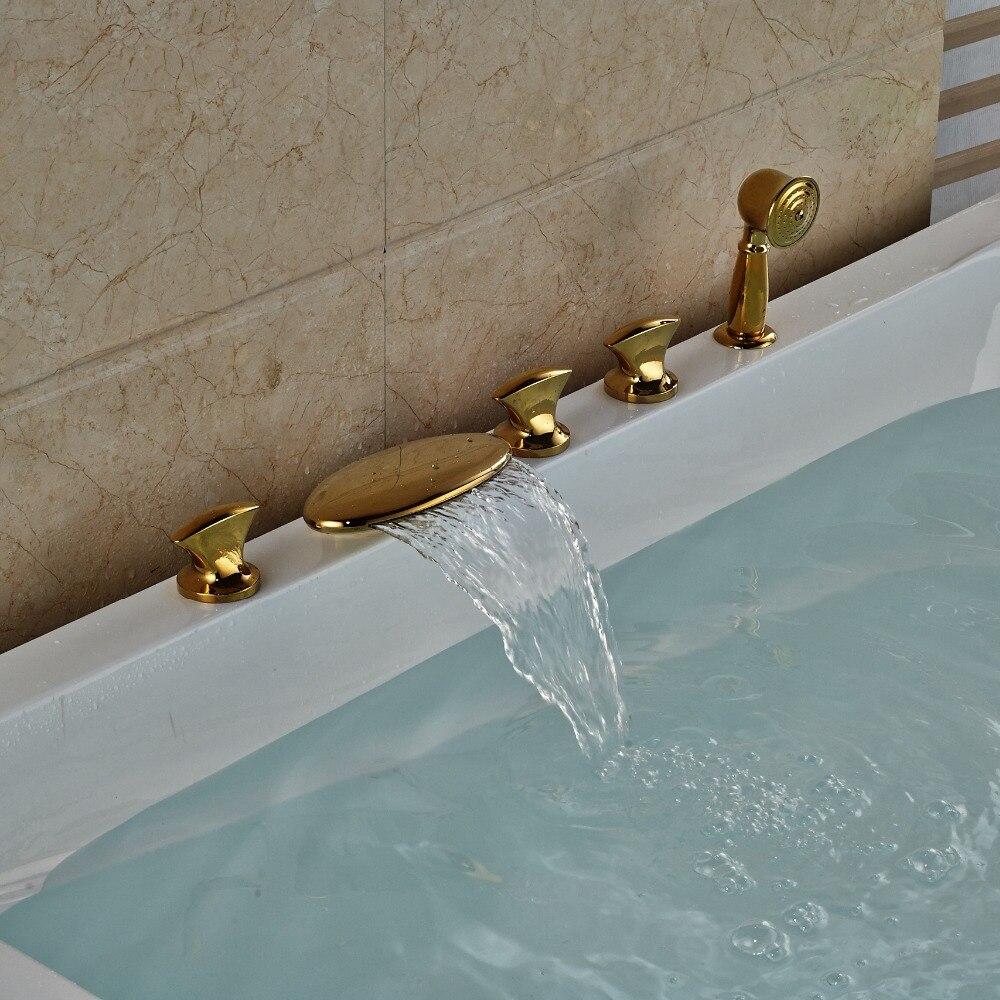 3 Handles Waterfall Bathroom Tub Faucet 5 Holes Hand Shower Sink ...