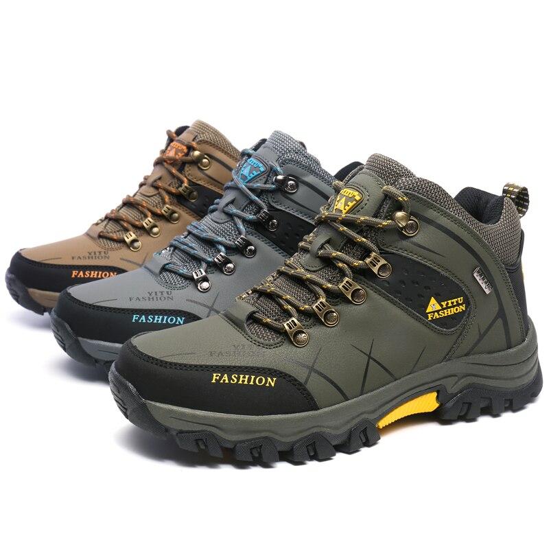 39-47 Мужские ботинки противоскользящие Обувь кожаная для девочек Для мужчин анти-скольжения Демисезонный Мужская обувь большой Размеры