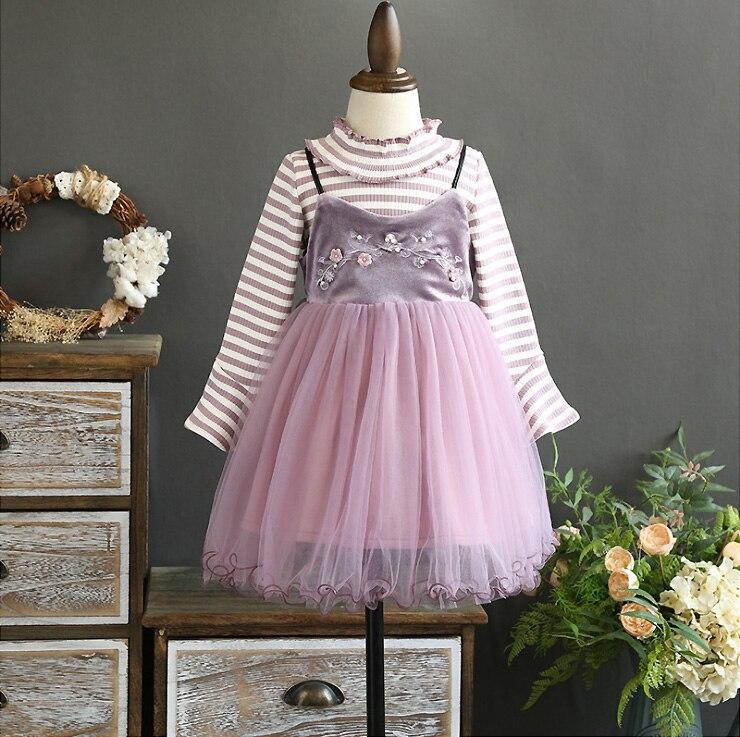 5395 High-grade Baby Girls Clothing Set, 2 Pcs: Flower Embroidery Dresses + Stripe T-shirt,Wholesale Autumn Winter Kids Clothes symmetric flower embroidery t shirt