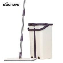 Hardชั้นไม้Flat Mopsฟรีซักผ้าLazy MopถังทำความสะอาดSelf Wringบีบคู่ด้านทำความสะอาดในครัวเรือนswabs