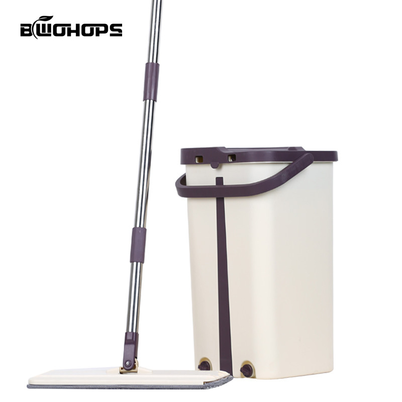Hard Floor Wooden Flat Mops Free Hand Washing Lazy Mop Bucket Cleaner Self-wring Squeeze Double Sided Household Cleaning Swabs(China)