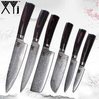 XYj VG10 Core 67 Слои нож из дамасской стали фрукты 2 * утилита 2 * Santoku разделочные нарезки кухонный нож набор Пособия по кулинарии Ножи