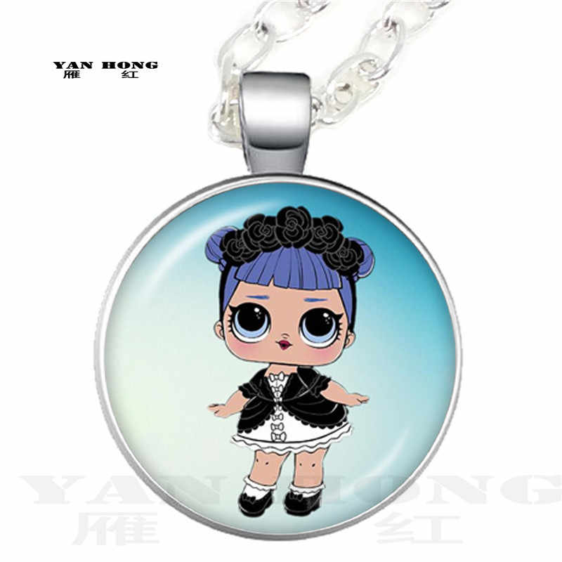 Cartoon A doll Necklace cute baby shiny princess skirt doll glass dome Pendant Chain animated children's birthday gift
