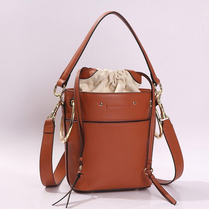 الأوروبية خمر حقيقية جلد النساء دلو أكياس بسيطة تصميم الصغيره الرباط البسيطة سيدة المراهنات Crossbody حقيبة-في حقائب الكتف من حقائب وأمتعة على  مجموعة 1