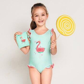 Julysand, уход за кожей, красивые купальники, бикини для маленьких девочек, детский купальник с фламинго, купальный костюм, Цельный купальник, од...