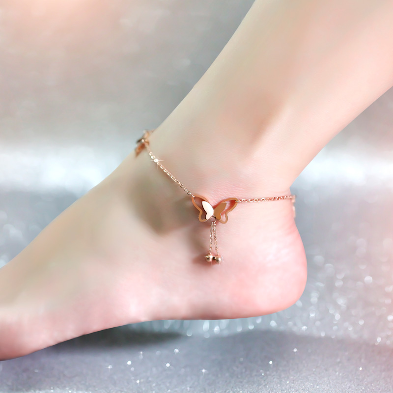 Top Quality 18KGP Rose Gold Plated Titanium Steel Butterfly Anklet Women s Fashion Brand Jewelry Free