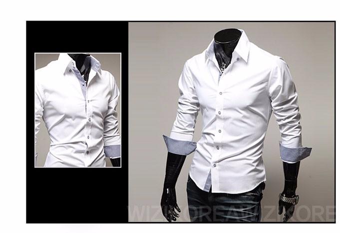 Mens Casual Shirts 2016 Hot Sale Mens Slim Fit Dress Long Sleeve Shirts Soild Male Social Shirts Designer Chemise Homme 3XL 25 8